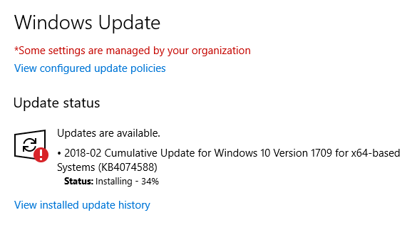 update pending